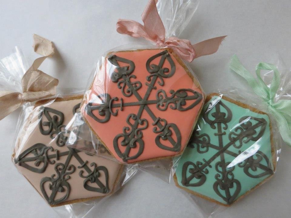 Ironwork Snowflake. $20 for set of 3. Individually wrapped. (Set comes with three colors: Coral, Mint, Oatmeal).